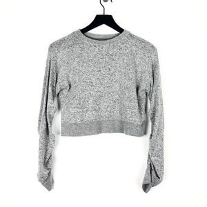 Zella Girls Top Ruched Long Sleeve Gray Lounge